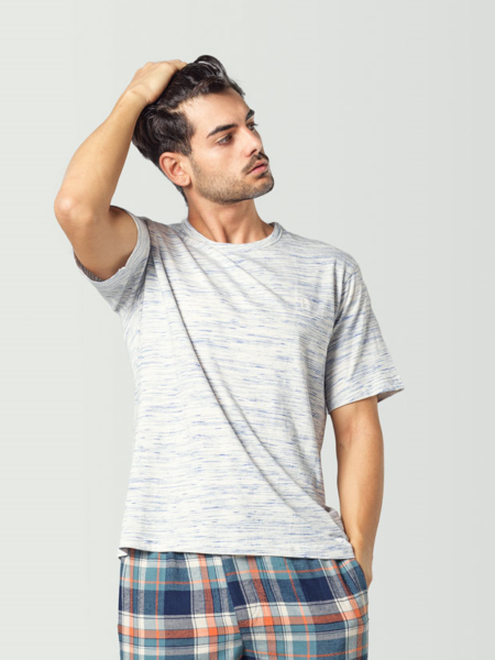 Camiseta pijama manga corta gris para hombre