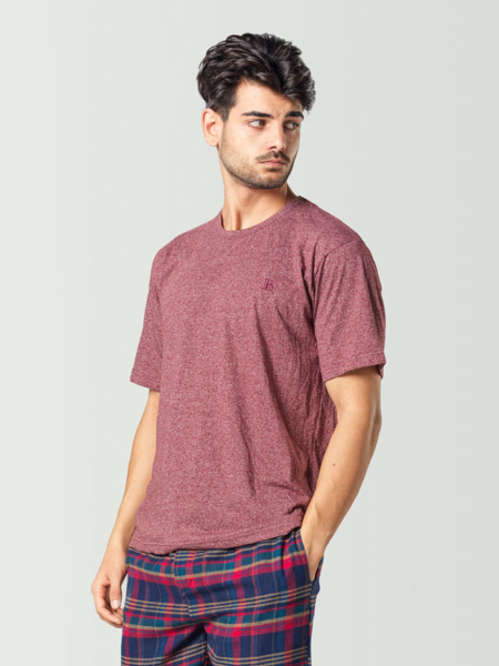 Camiseta de pijama manga corta roja para hombre