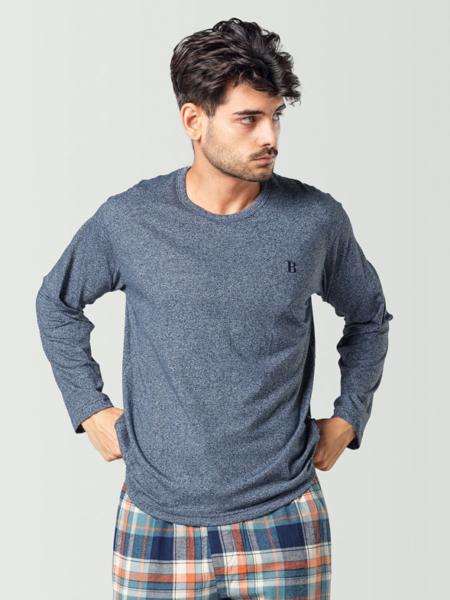 Camiseta de pijama manga larga azul para hombre