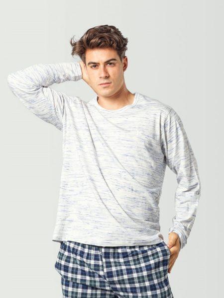 Camiseta de pijama de manga larga gris para hombres hombre