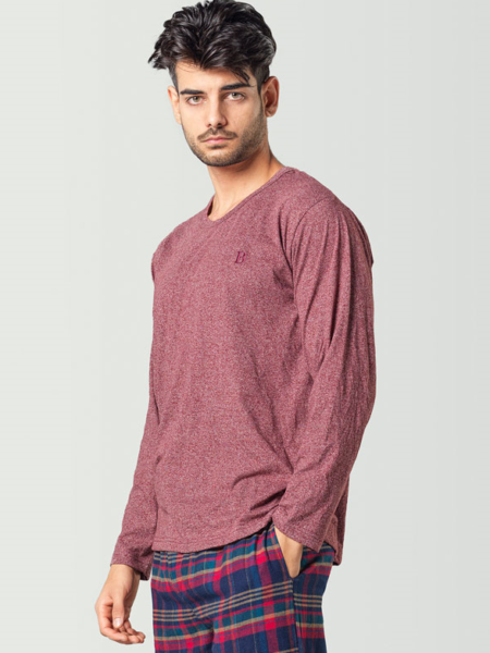 Camiseta de pijama manga larga roja para hombre