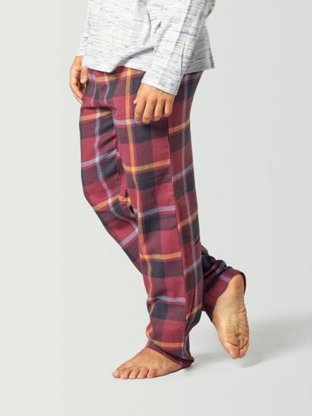 Pantalón de pijama para hombre a cuadros rojo y negro