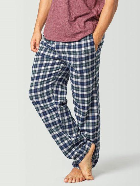 Pantalón de pijama a cuadros azul y blanco para hombre