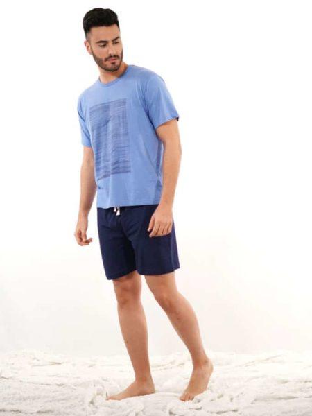 Pijama corto azul para hombre