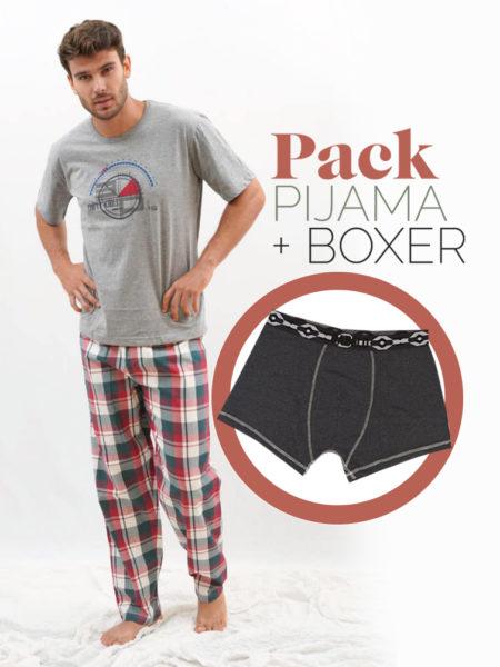 Pijama de primavera para hombre cuadro escocés + bóxer