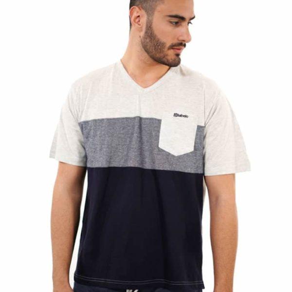 Pijama de algodón hombre verano con tonalidades azules