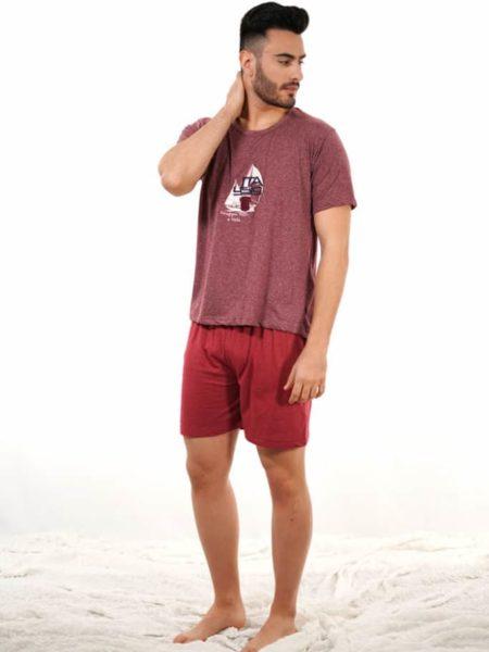 Pijama de algodón rojo vigoré para hombre