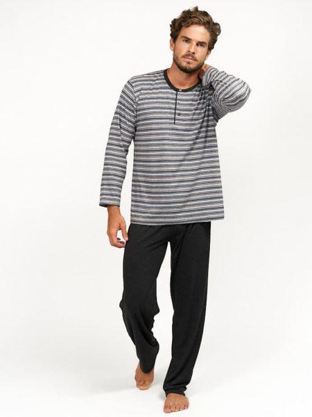 Pijama de algodon para hombre combinado rayas grises