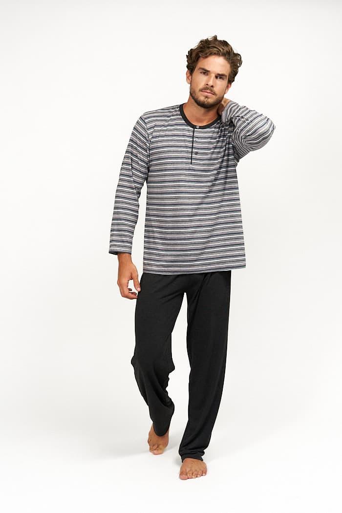 Pijama de algodón combinado rayas grises para entretiempo