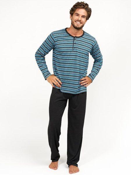 Pijama de algodon para hombre rayas turquesa