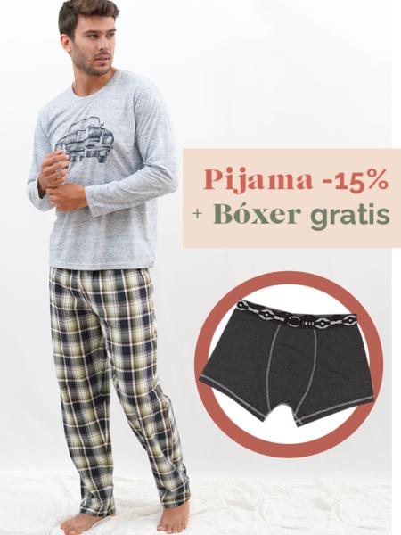 Pijama de entretiempo para hombre estampado coche bóxer