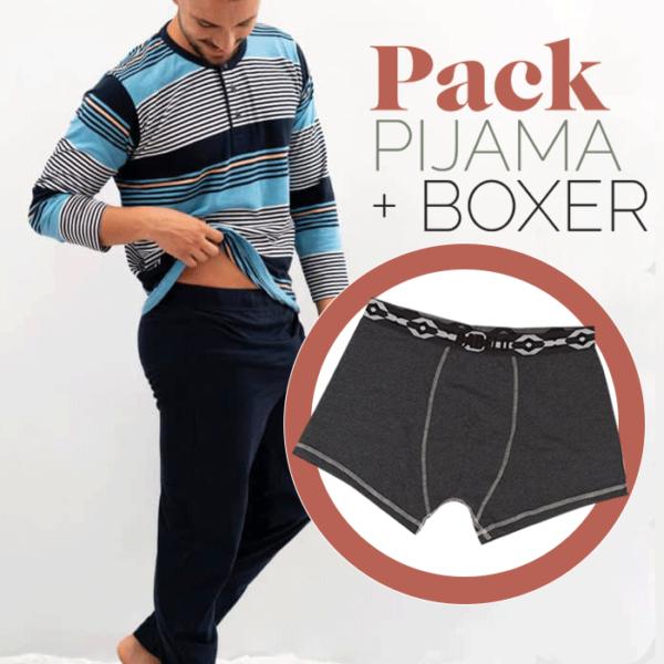 Pijama de entretiempo 100% algodón rayas + bóxer