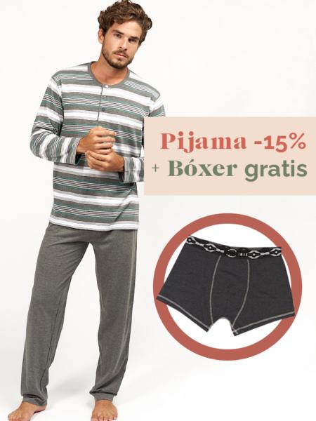 Pijama de entetiempo para hombre a rayas grises boxer