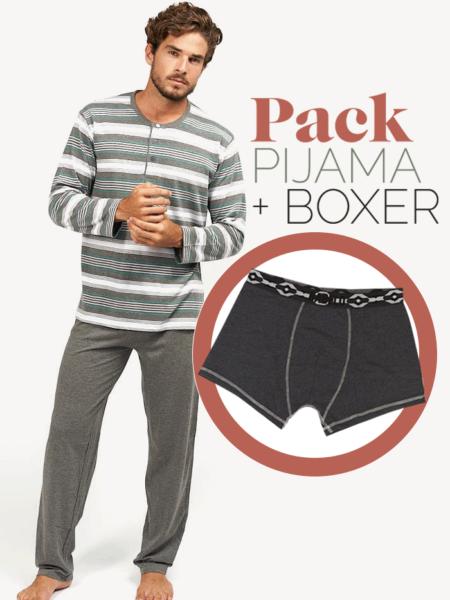 Pijama de entretiempo para hombre a rayas grises + bóxer