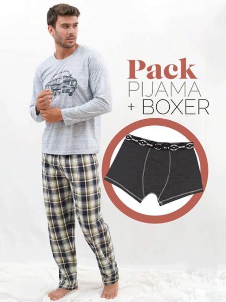 Pijama de entretiempo para hombre estampado coche + bóxer