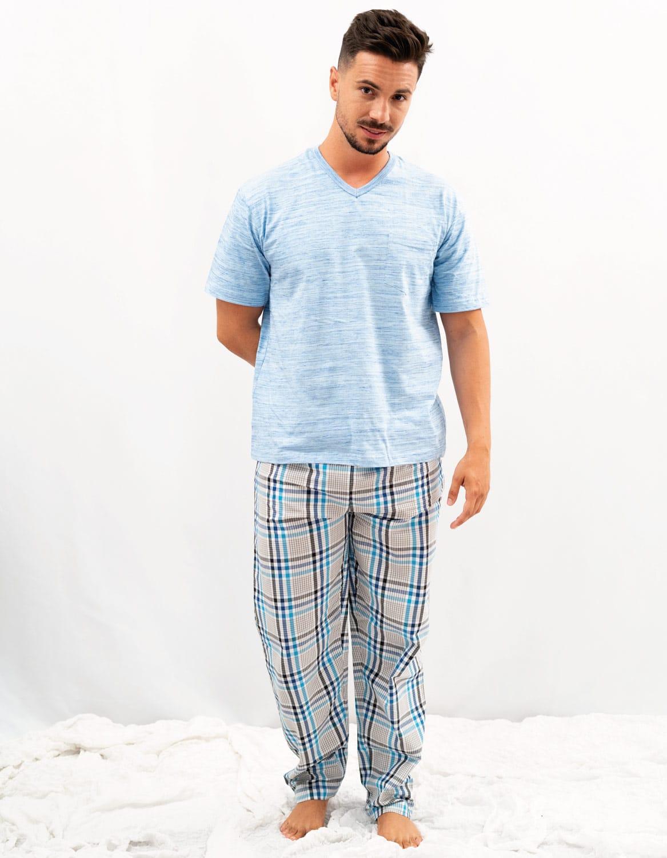 Pijama de hombre algodon cuadros azul
