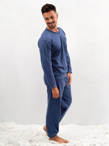 pijama de hombre basico algodon azul