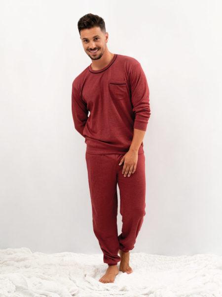 pijama de hombre basico algodon rojo