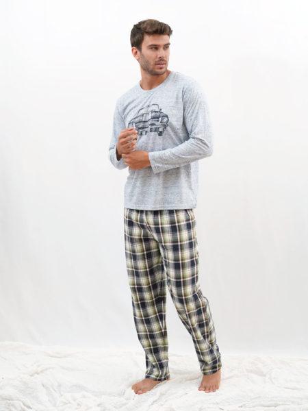 Pijama de cuadros algodon coche