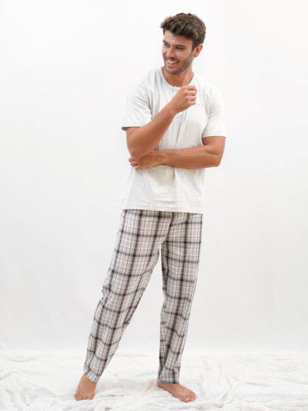 Pijama de hombre de algodon cuadros blanco