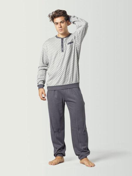 Pijama de hombre manga larga gris