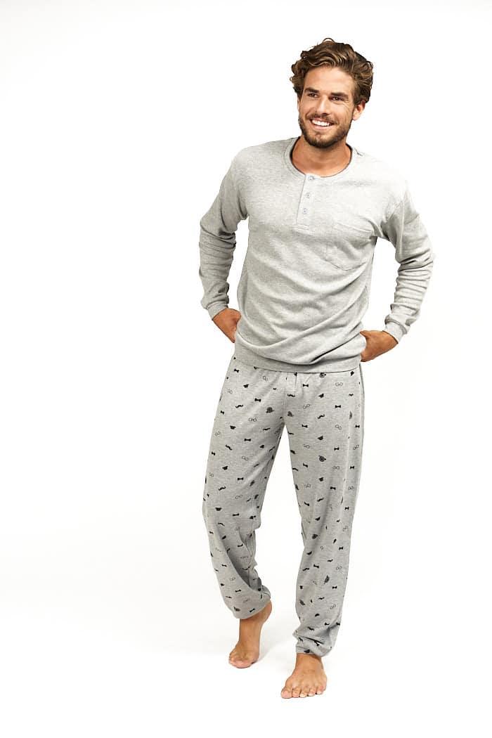 Pijama de invierno para hombre color gris
