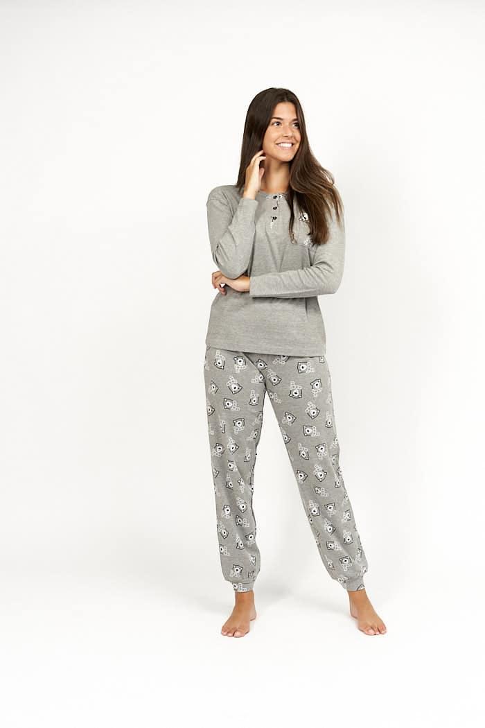 Pijama de invierno para mujer color gris