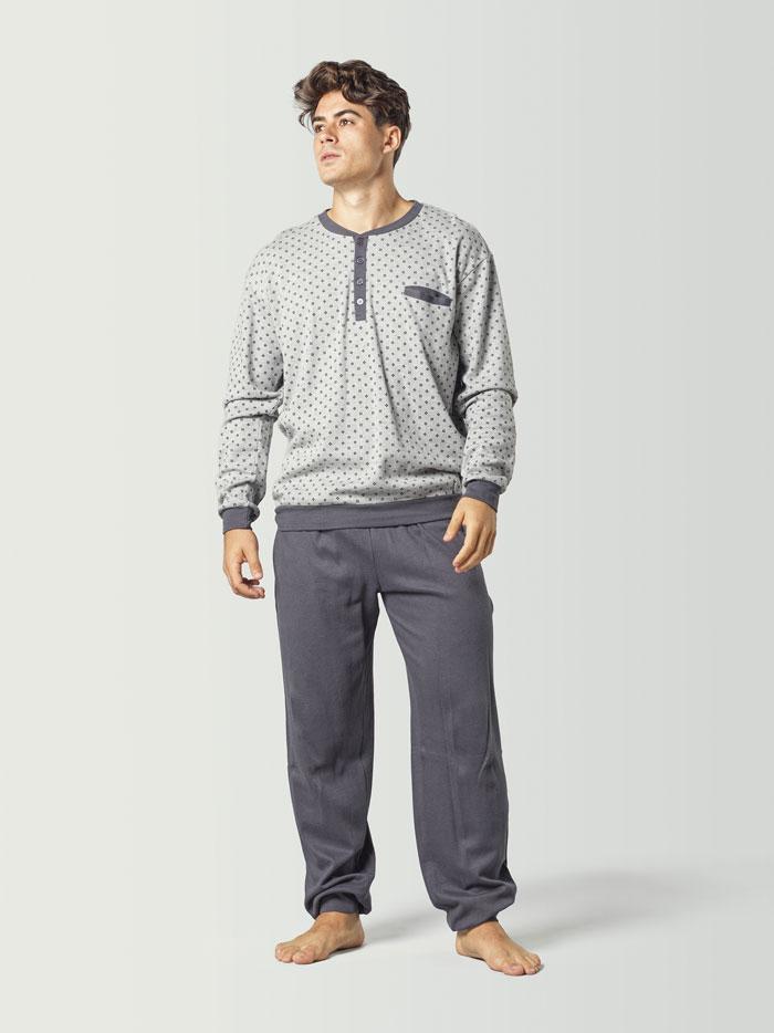 pijama de manga larga gris para hombre