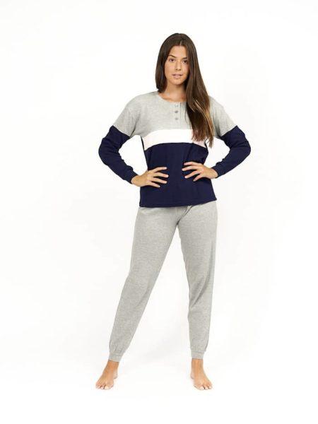 Pijama de mujer algodon combinado azul y gris