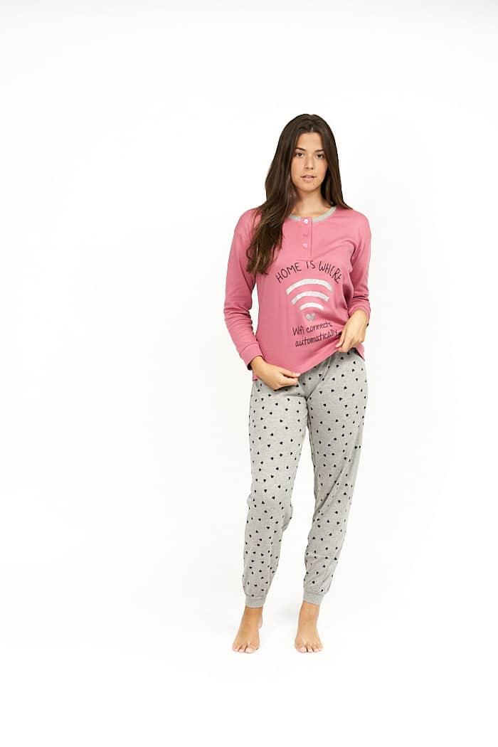 Pijama de mujer combinado rosa y gris