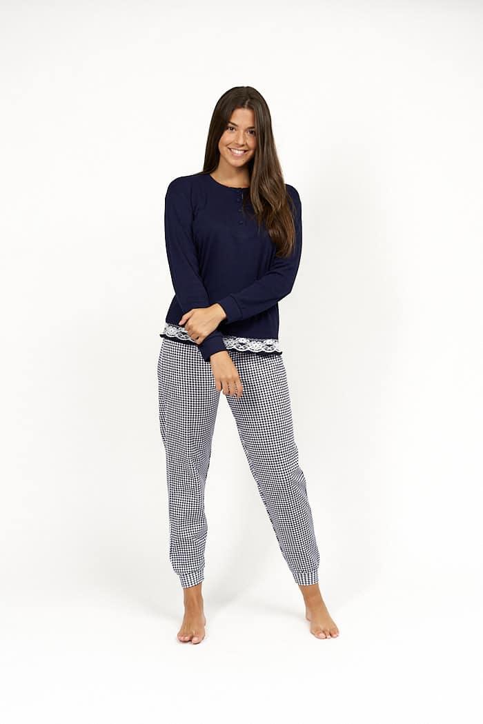 Pijama de mujer cuadro vichy azul pequeño