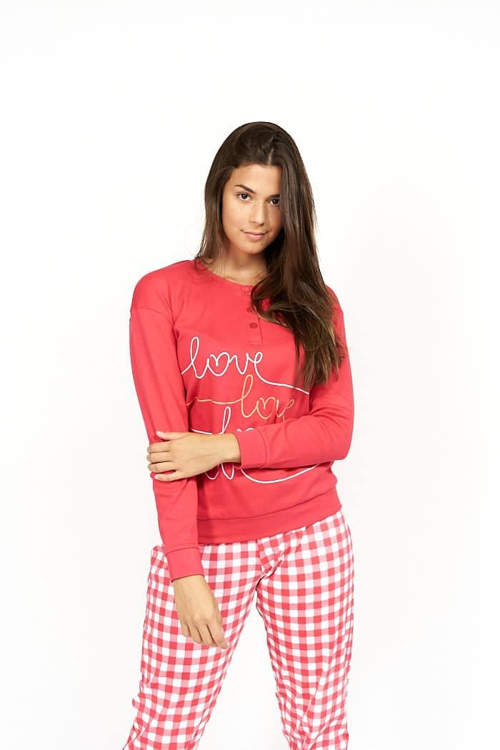 Pijama de mujer cuadro vichy rojo