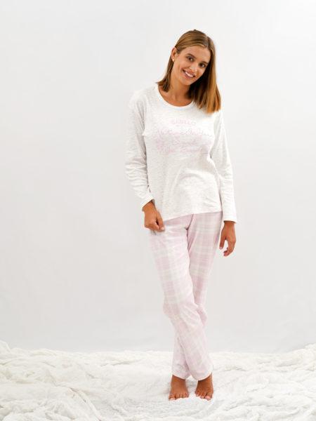 Pijama de mujer cuadros color rosa