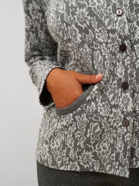 Pijama de mujer algodón flores gris