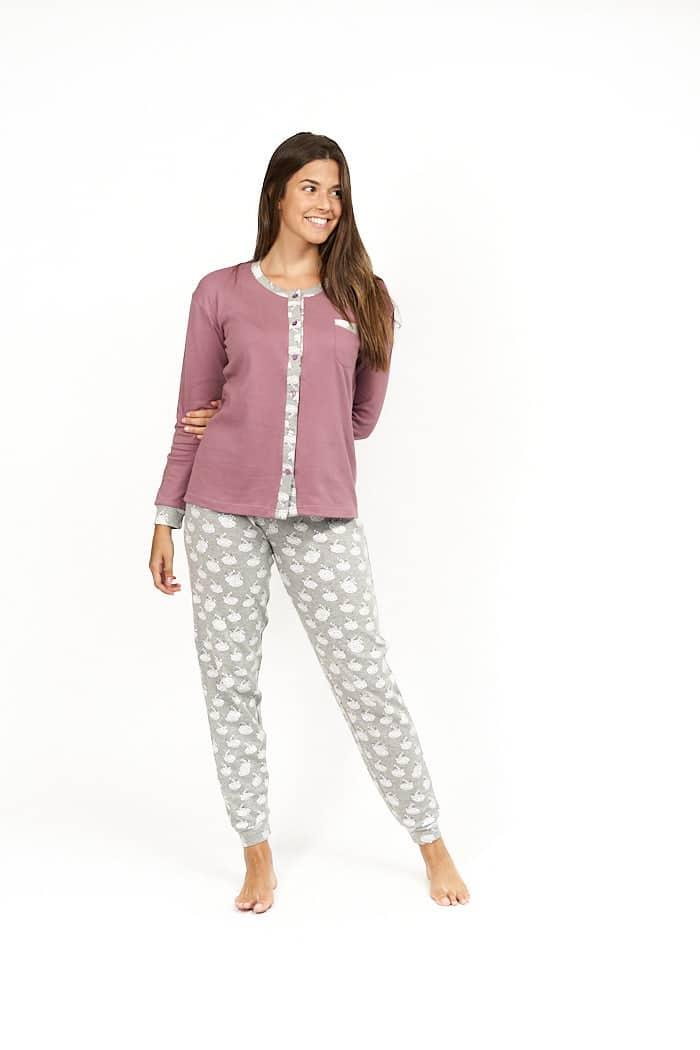 Pijama de mujer invierno abotonado