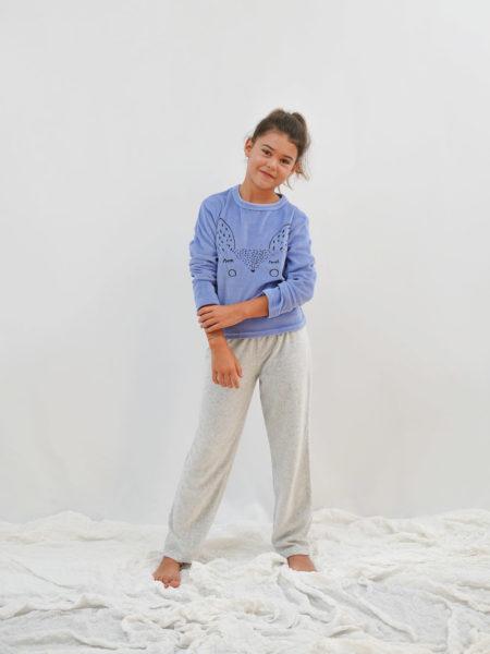 pijama de niña azul terciopelo
