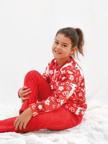 Pijama de niña terciopelo gatito