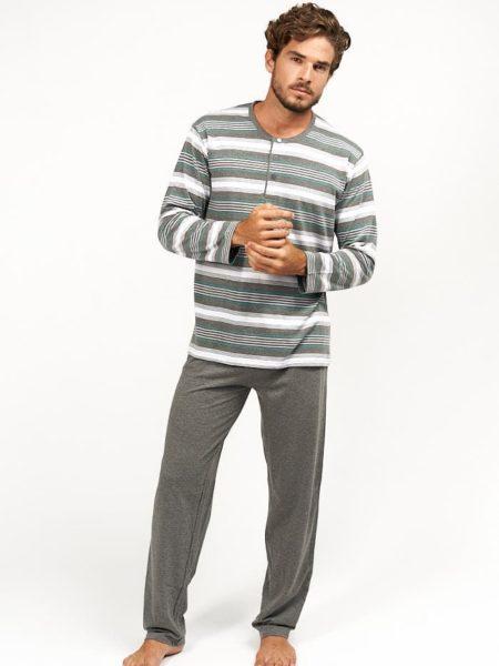 Pijama de pantalon largo para hombre a rayas grises