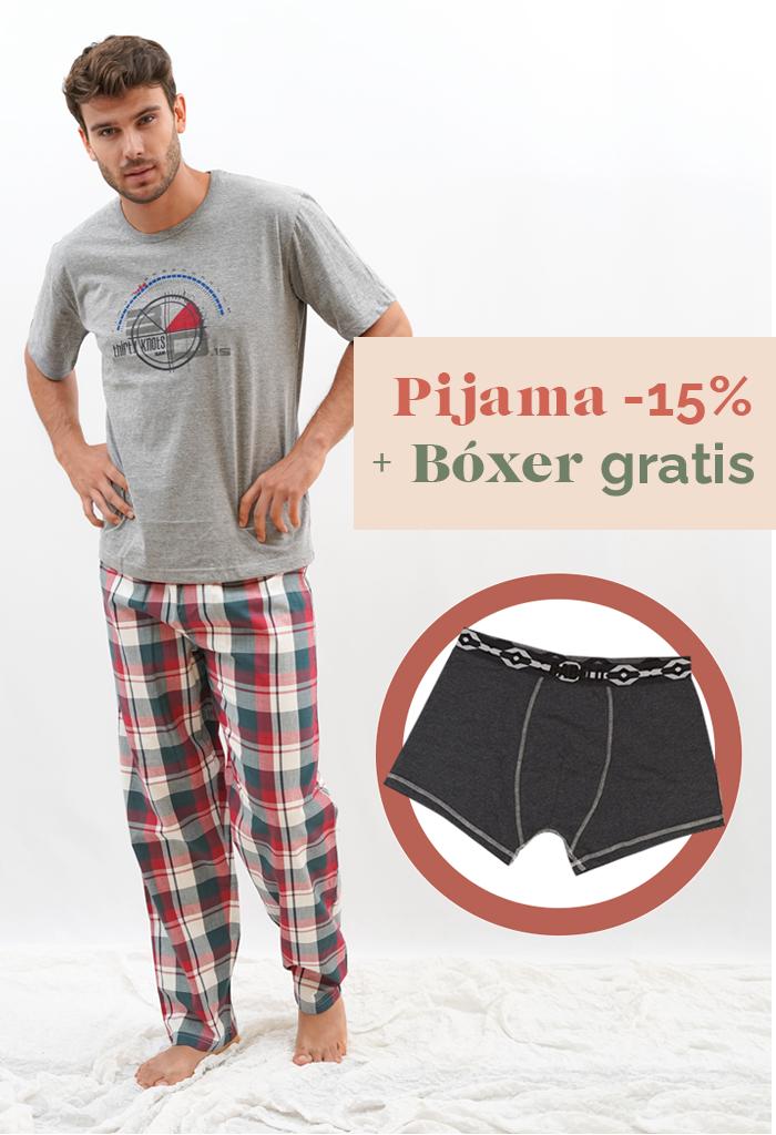 Pijama de primavera para hombre cuadro escocés