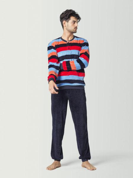 Pijama de terciopelo de colores para hombre