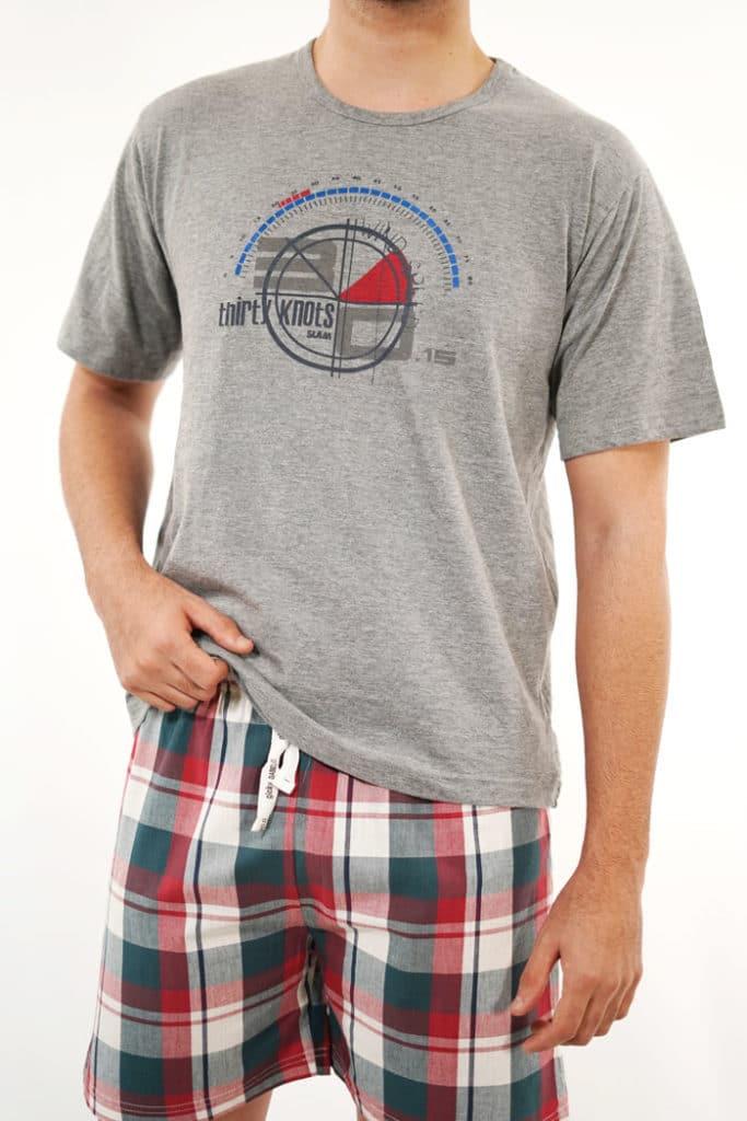 Pijama de verano hombre cuadro escocés