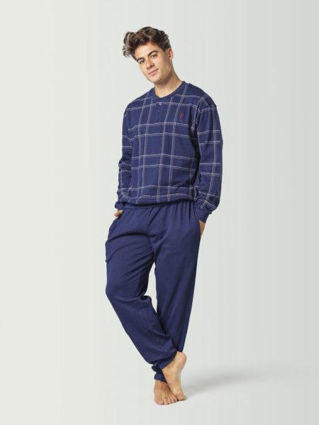 Pijama a cuadros con puños para hombre