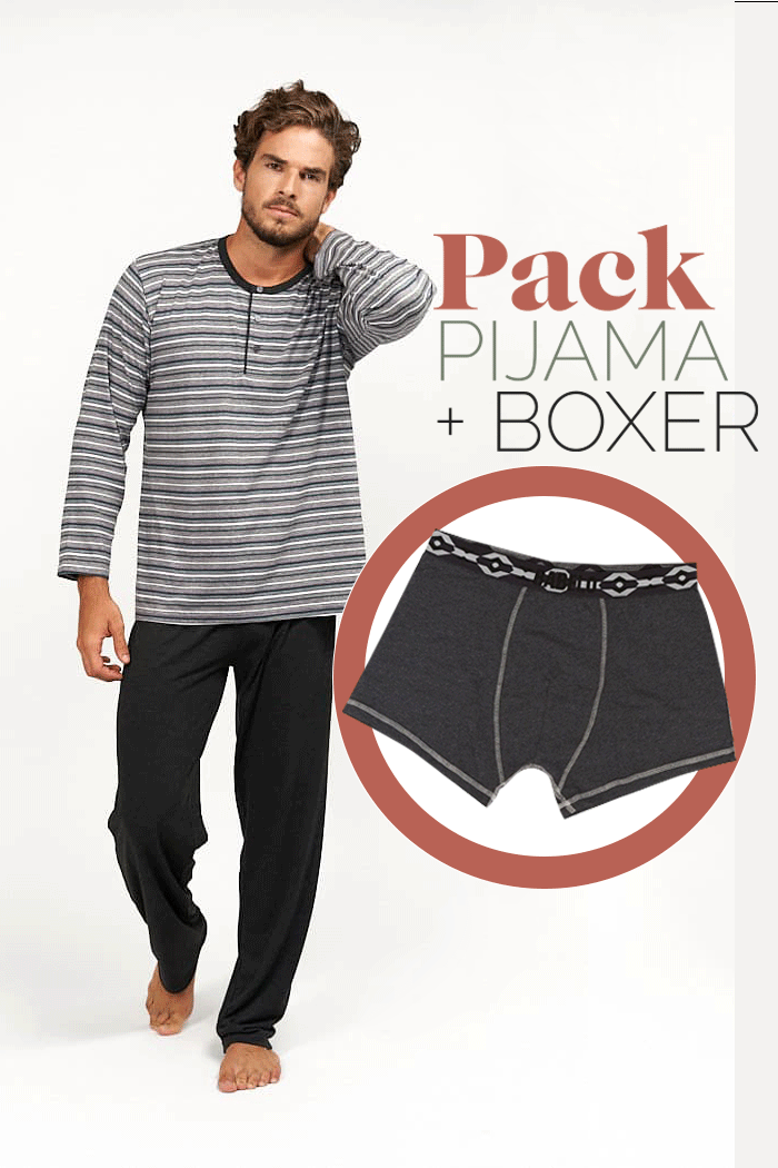 Pijama fino combinado rayas grises para hombre + bóxer