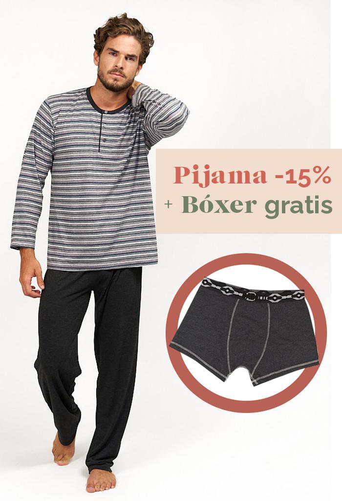 Pijama fino combinado rayas grises para hombre bóxer