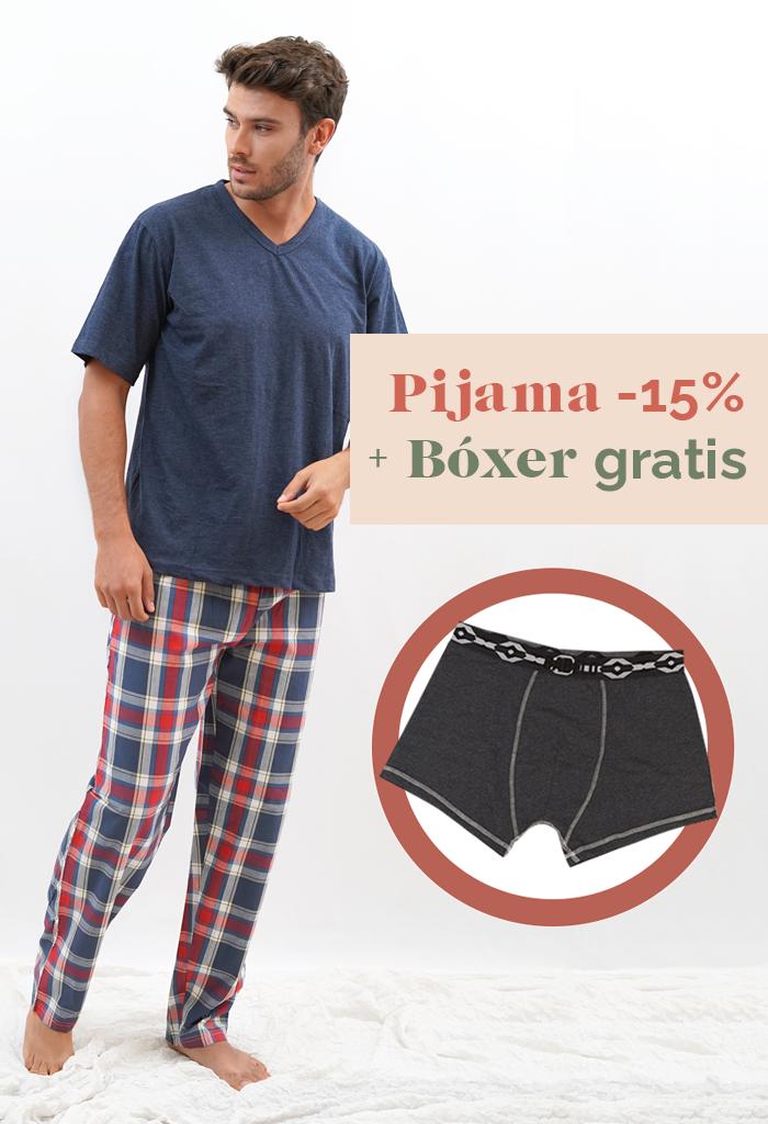 Pijama fino para hombre cuadros bóxer