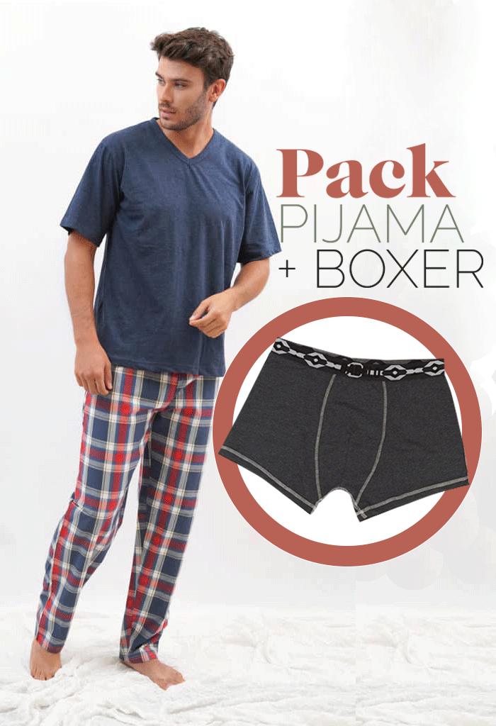 Pijama fino para hombre cuadros + bóxer