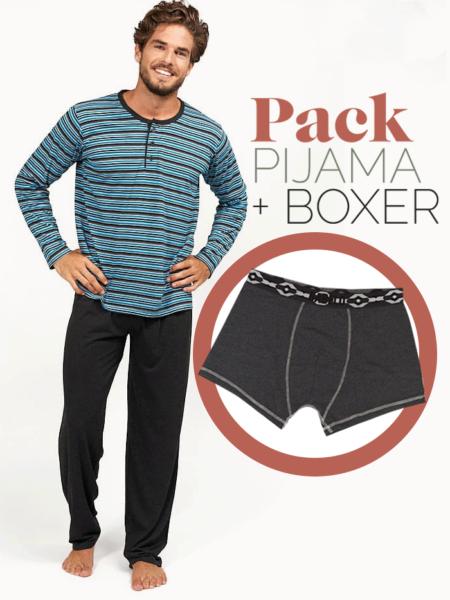 Pijama fino para hombre rayas turquesa + bóxer