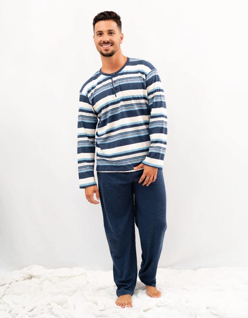 Pijama hombre azul y rayas