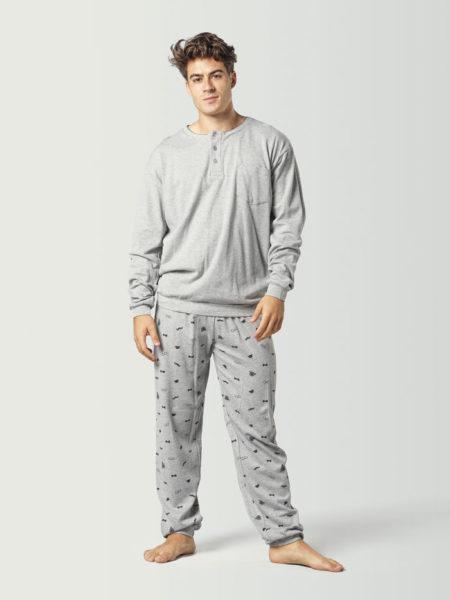 Pijama invierno para hombre color gris