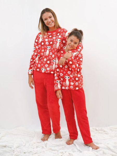 pijama polar mujer y niña